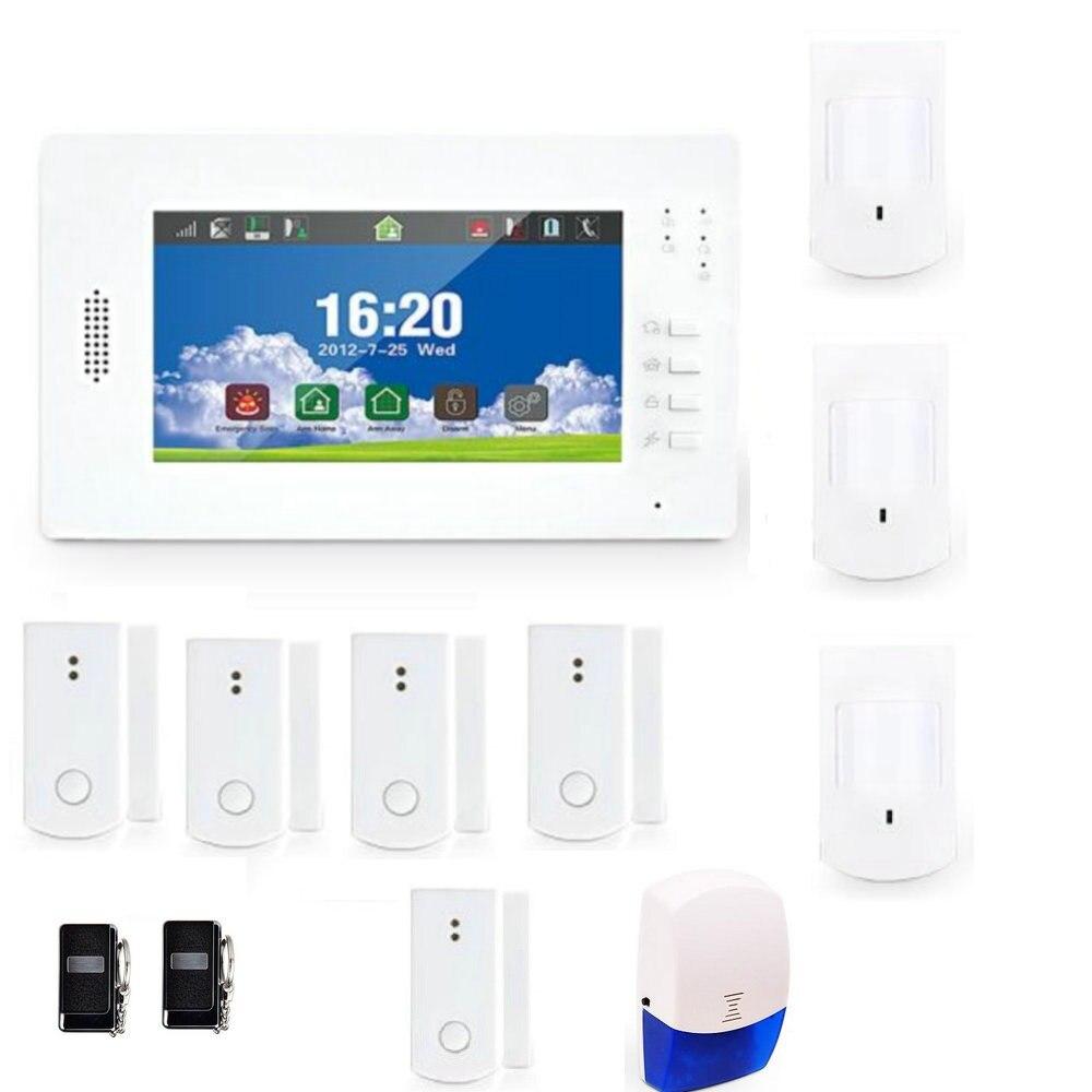 7 дюймов Сенсорный экран GSM сигнализация DIY Системы с 868 мГц Беспроводной дома охранной сигнализации резервного копирования Батарея Бесплат