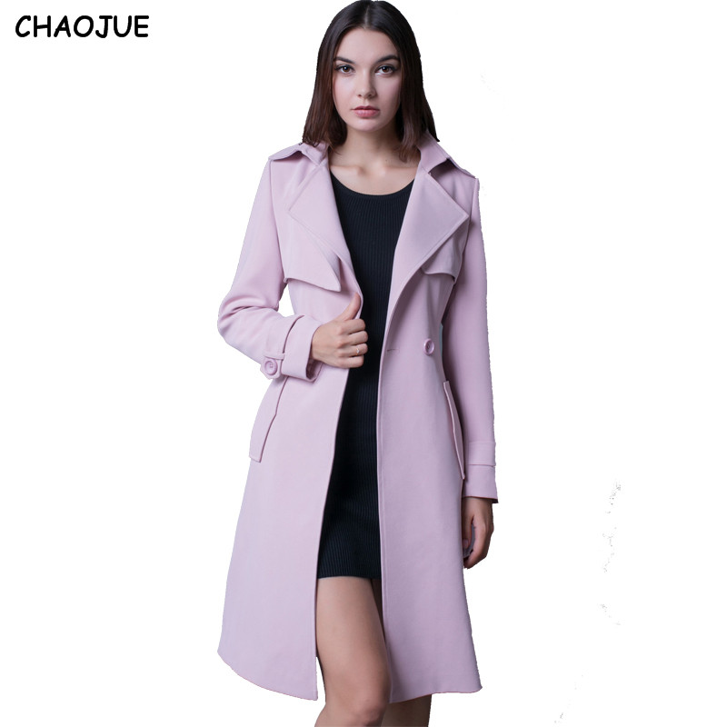 2cc335c81ba CHAOJUE Trench female 2018 long sleeve double breasted outerwear medium long  plus size gray peacoat ladies elegant outwear coat-in Trench from Women s  ...