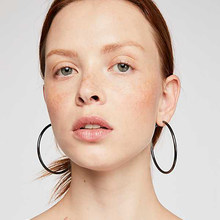 70mm Classic Sivler Gold Black Color Big Large Circle Round Hoop Earrings For Women Girls Stainless Steel Simple Fashion Jewelry(China)