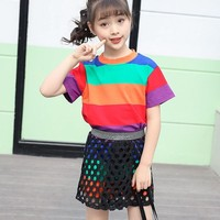 Fashion Girls Clothing Summer Sets 2 Pcs Colorful Striped T Shirts Dresses & Hollow Out Skirts Suits Kids Clothes Children'set