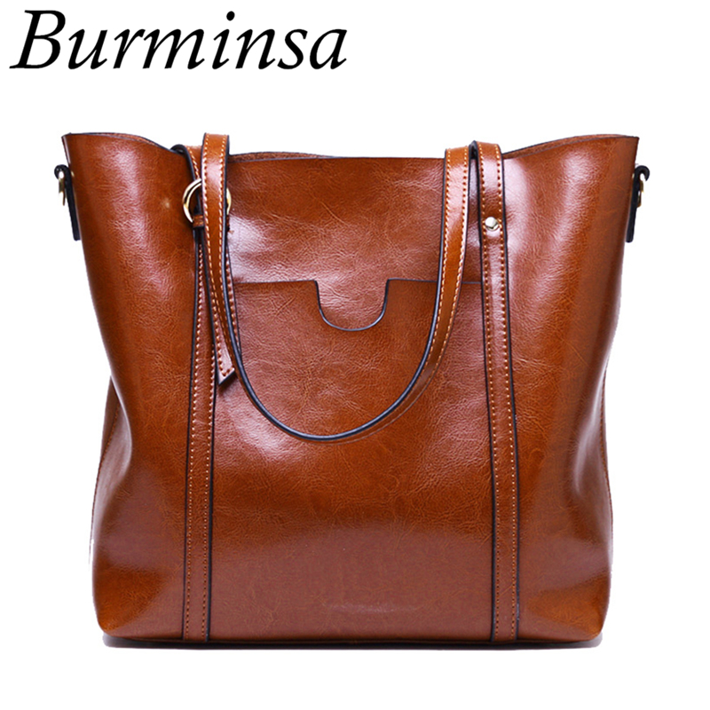 866ca5a03f Burminsa Brand Genuine Leather Bags Large Tote Bags Ladies Designer Handbags  High Quality Shoulder Crossbody Bags For Women 2018
