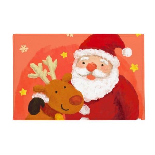 Christmas Santa Claus Snowflake Elk Festival Anti-slip Floor Mat Carpet Bathroom Living Room Kitchen Door 16x30Gift