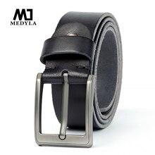 MEDYLA original leather belt for men's brushed steel pin buckle simple men's