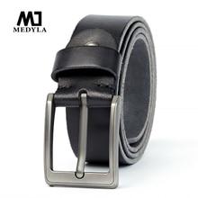 Medylaオリジナル革ベルトメンズ起毛鋼ピンバックルシンプルな男性のジーンズカジュアルパンツ男性のアクセサリー