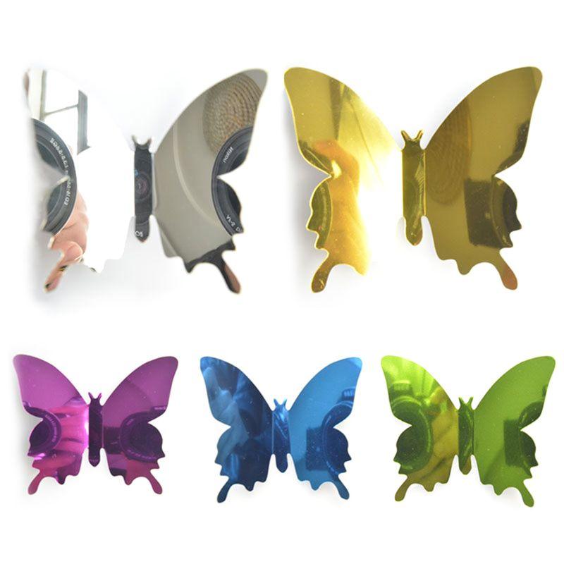 12 pièces/ensemble 3D papillon bricolage Art miroir Stickers muraux maison décalque chambre murale décor de noël fête de mariage réfrigérateur décoration
