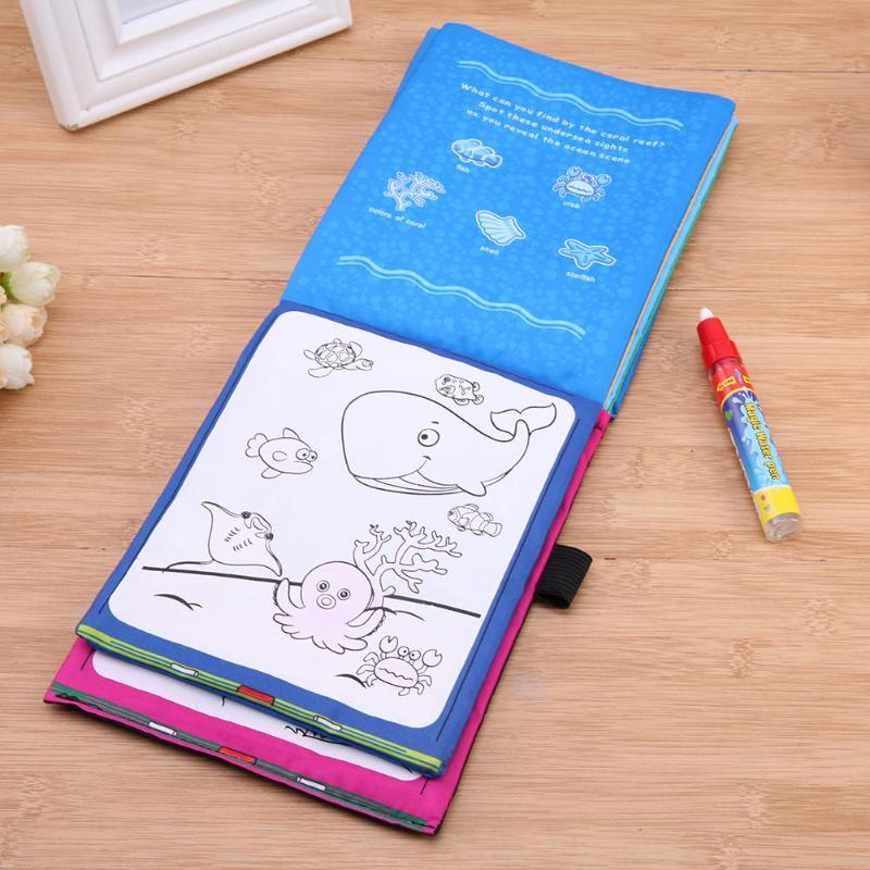 Water Drawing Book Kids Coloring Drawing Toy Animals Magic Water Drawing Book with Magic Pen Doodle Painting Board Drawing Toy