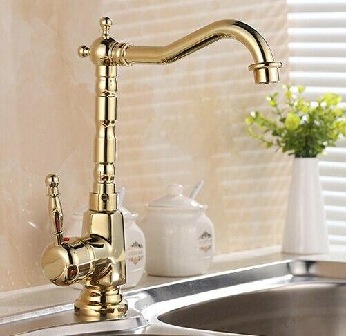 Nouveautés Style rétro européen et Surface or robinet de cuisine robinet de lavabo de salle de bains par robinet d'évier en laiton robinet mitigeur d'eau