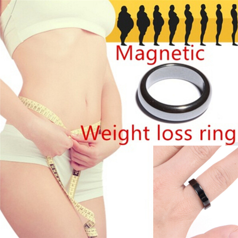 Black 6/8/10 Cool Magnetic Hematite Stone Therapy Health Care Women Magnet Hematite Ring Men's Jewelry Weight Loss Ring