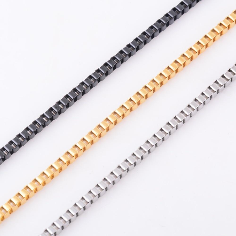 3 мм серебро/золото/черный тон Для женщин и Для мужчин коробка Цепочки и ожерелья цепь 316L Нержавеющаясталь Цепочки и ожерелья для Высокое качество изделия цепи