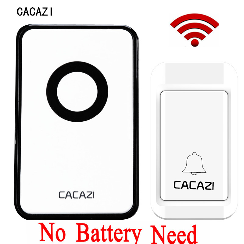 где купить CACAZI New Electronic No Battery Need Wireless DoorBell Waterproof Door Bell Wireless AC220V Remote Control Home Door Bell 1V1 по лучшей цене