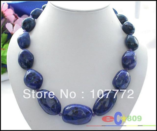 "Naturel 19"" 36 mm massive baroque lapis lazuli NECKLACE    Free shipment"