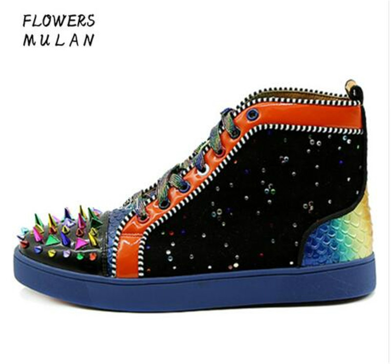 Handmade Design Spikes Rivets High Top Mixed Colors Patchwork Fashion Men Casual Shoes Flats Lace Up Hommes Chaussures Sneakers spring autumn high quality patchwork future leather high top men casual shoes lace up mixed colors flats ankle wrap mens shoes