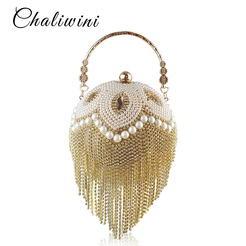 Tassel Fashion Women Pearl Beaded Crystal Party Evening Bag Bridal Wedding Round Ball Wrist Bag Round Clutch Purse Handbag