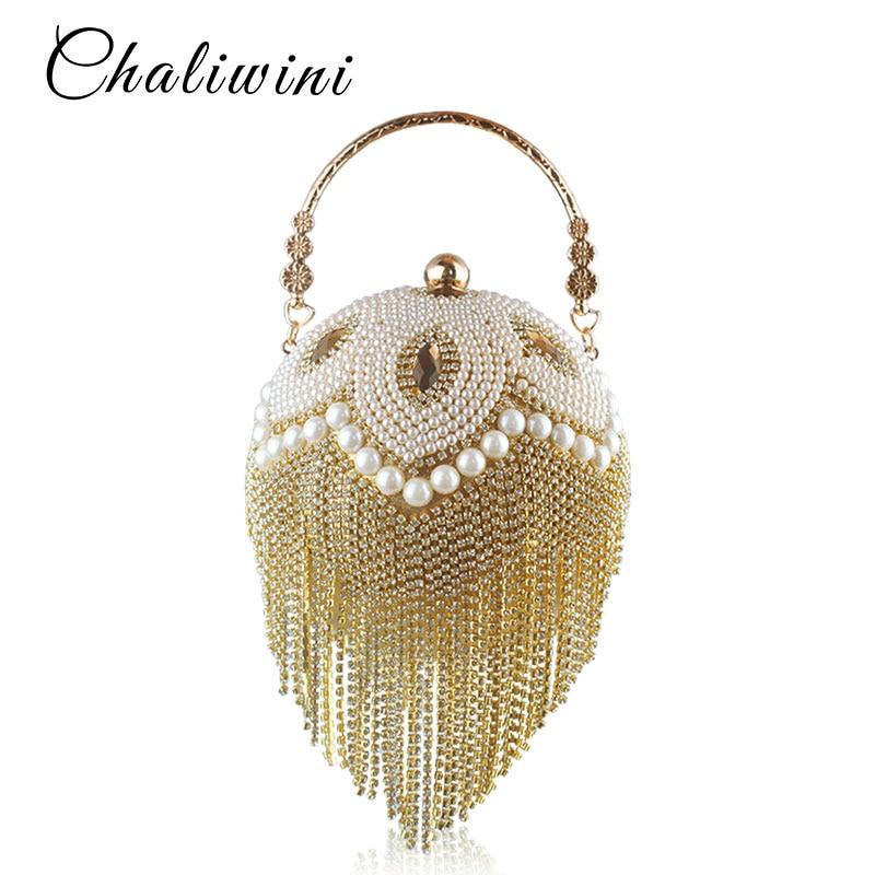 Tassel Fashion Women Pearl Beaded Crystal Party Evening Bag Bridal Wedding Round Ball Wrist Bag Round Clutch Purse Handbag