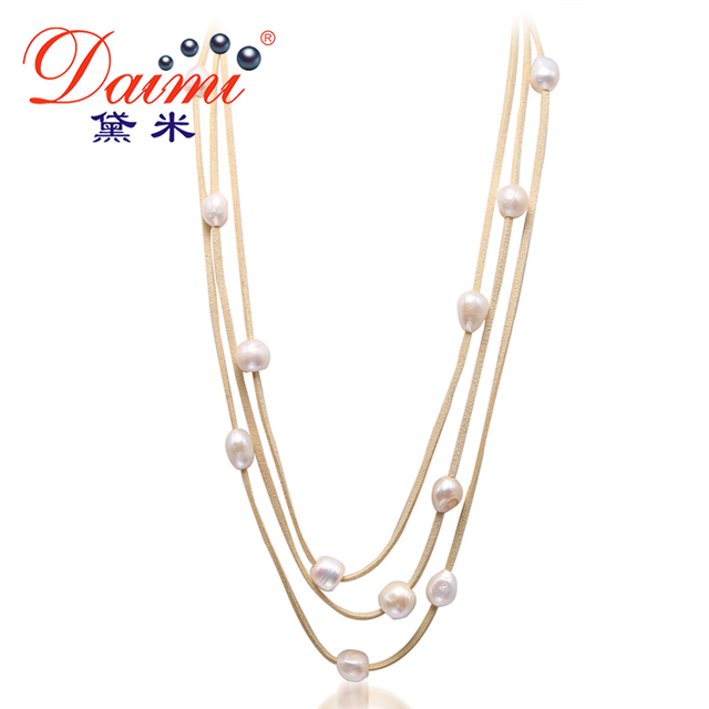 DAIMI 9-10MM Natural White Baroque Pearl & Leather 3 Layer Necklace Long Jewelry