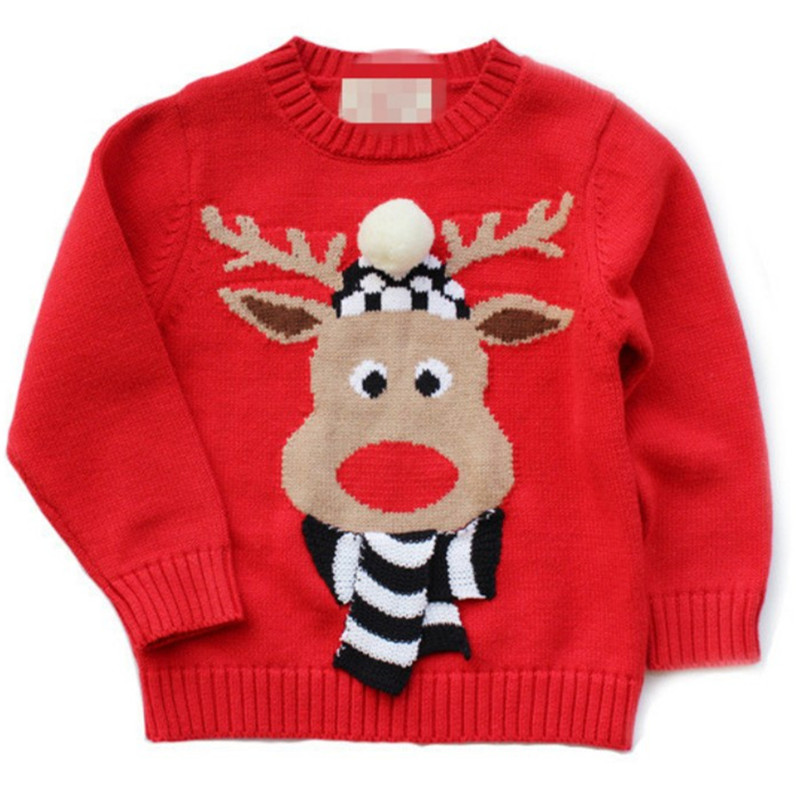 Maggie's Walker Free Shipping Christmas Baby Boy Clothes Autumn New Boys and Girls Red Elk Sweaters New Year's Costumes for Boys children autumn and winter warm clothes boys and girls thick cashmere sweaters