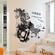 Black Run Of Horse Removable Cartoon Wall Stickers Living Room Sofa Background Home Decor Sticker Mural(China)