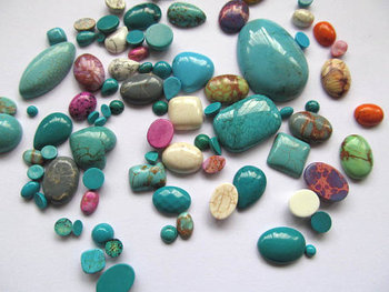 15%off -- 4-20mm 100pcs high quality turquoise cabochons round oval drop square rectangle beads