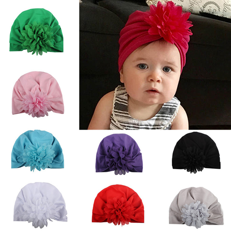 Girls' Clothing Good Beanie Soft Knot Flower Hat Bohemia Style Indian Chiffon Baby Hats Spring Autumn Winter Caps Children Elastic Accessories