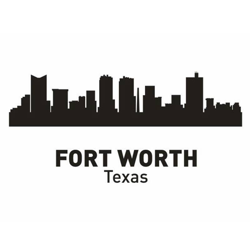 DCTAL FORT WORTH City Decal Landmark Skyline Wall Stickers Sketch Decals Poster Parede Home Decor Sticker