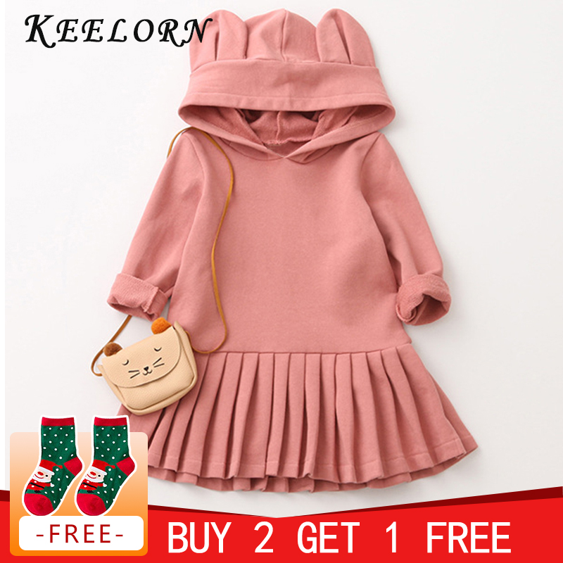 Keelorn Girls Dress Casual Style Girls Clothes Rabbit Ears Hooded Ruched Girls Dresses baby girl dress 2018 Autumn Kids Clothes retro ruched swing pin up dress
