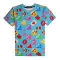 Recentes 3D T Camisa Estilo Verão 2017 Mulheres/Homens Azuis Emoji Camiseta Kawaii Whatsapp Smilies Gráfico T Camisas de Manga Curta topos