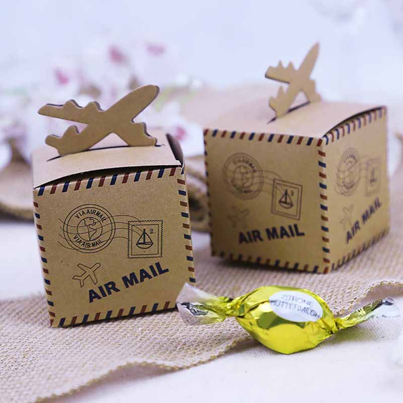 5pcs Chocolate Candy Box gift bag Vintage Wedding Travel Theme Birthday Party bridal baby shower table centerpiece decoration