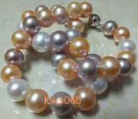 10 11mm natural south sea white pink purple pearl necklace 18 Round ball buckle>Selling jewerly free shipping