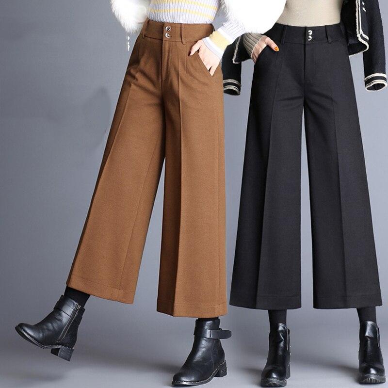 2018 female autumn winter new high waist Woolen   wide     leg     pants   female large size Leisure straight   pants   loose Ankle-Length   Pants