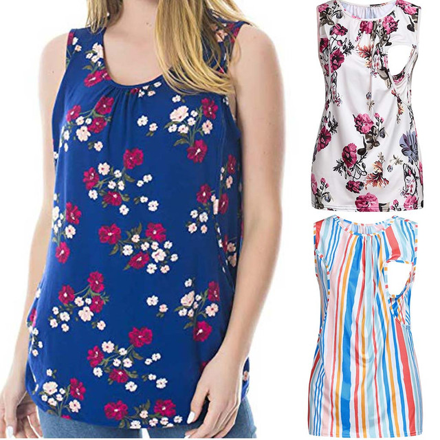 maternity tops pregnant clothes Women's Maternity Floral Nursing Top Sleeveless Comfy Breastfeeding Clothes ropa maternidad