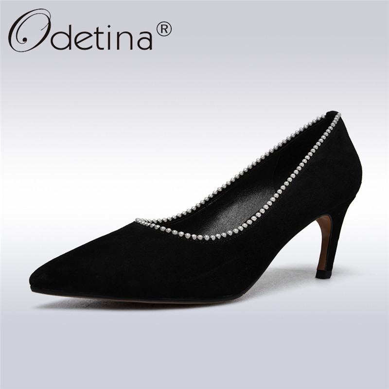 Odetina 2018 New Fashion Women Genuine Leather Shoes Classics Slip On Pumps Pointed Toe Pearl Leisure For Ladies Plus Size 33-43 odetina 2017 new women pointed metal toe loafers women ballerina flats black ladies slip on flats plus size spring casual shoes