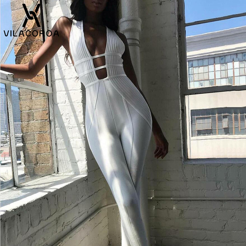 Summer Fashion Deep V White   Jumpsuits   For Women Sleeveless V-Neck High Waist Open Back Casual Playsuit Romper combinaison femme