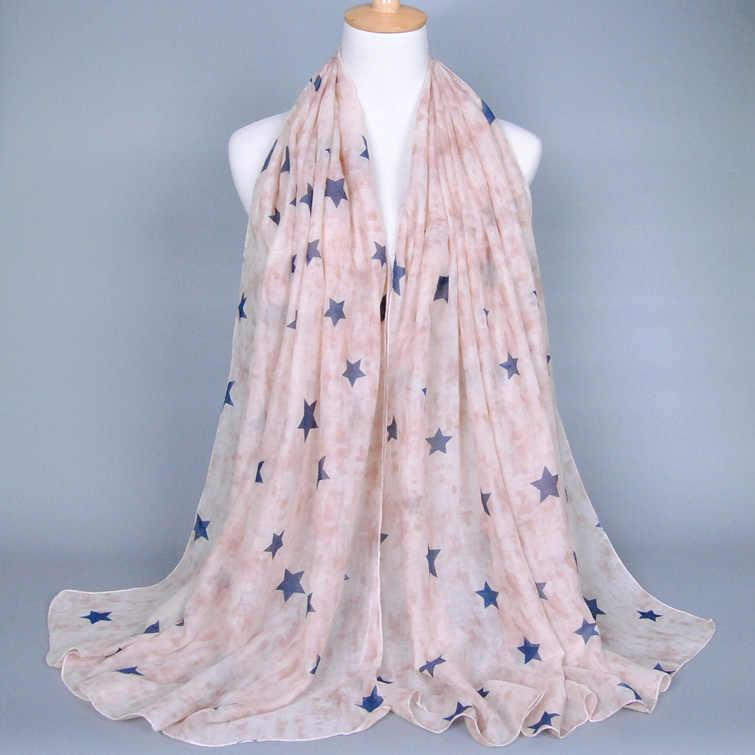 レディースファッション printe スター綿スカーフ教徒ヒジャーブヘッド冬パシュミナ人気のスカーフ/ショール 20 ピース/ロット