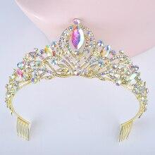 Золотистые AB цветные бриллианты для невесты с кристаллами женские короны с гребнем свадебные головные уборы украшения для волос диадема