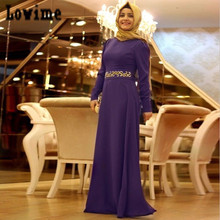Hijab Caftans Dubai Dresses with Sash Detachable Appliques with Long Robe Soriee Evening Dresses Long Sleeves Musalim Wear