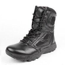 2017 Verano Botas Tácticas de Los Hombres Negros Al Aire Libre Desierto Zapatos De Seguridad Del Ejército de La Motocicleta Transpirable Botines de Combate de Asalto Militar