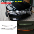 LED Headlight Eyelids Eyebrows Trim Lamp Bezel Cover Headlight DRL For Toyota Camry 2012 2013 2014 With Turn Signal