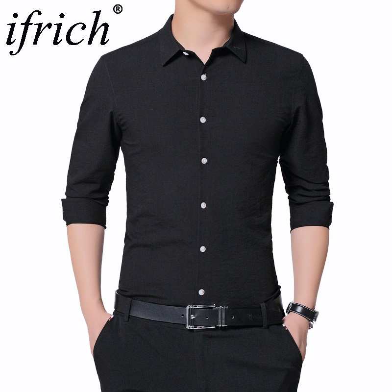 Buy Spring&Autumn Men's Business Dress Shirts Male Formal Button-Down Collar Shirt Fashion Men's Casual Gray White Black Dress Shirt for only 38.88 USD