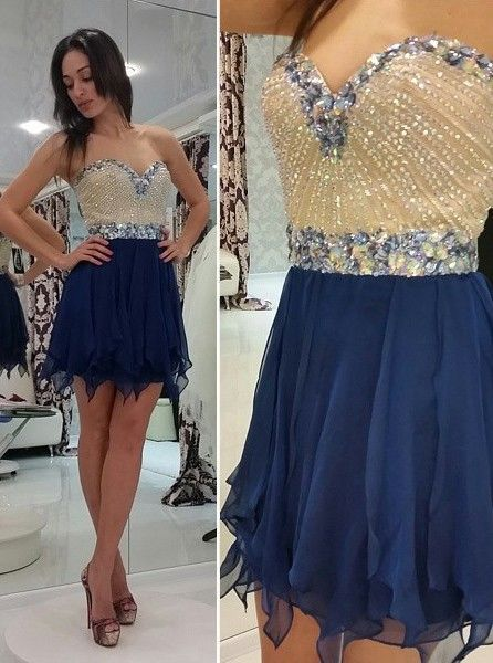 Navy Blue Sweetheart Chiffon Homecoming Dresses Women Short Mini Length Graduation Dresses Crystal Sexy Mezuniyet Elbiseleri