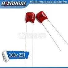 20PCS 100V221J 220PF 5% Pitch 5mm 220P 221 100V CBB Polypropylene film capacitor hjxrhgal