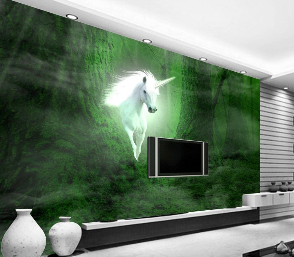 online get cheap 3d wall murals unicorn aliexpress com alibaba 3d wallpaper for room unicorn white horse dream forest background wall mural 3d wallpaper china