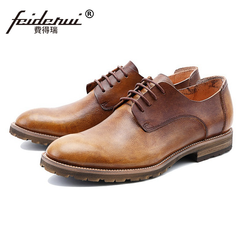 New Arrival Genuine Leather Wedding Party Men's Handmade Platform Footwear High Quality Round Toe Man Formal Dress Shoes SS63