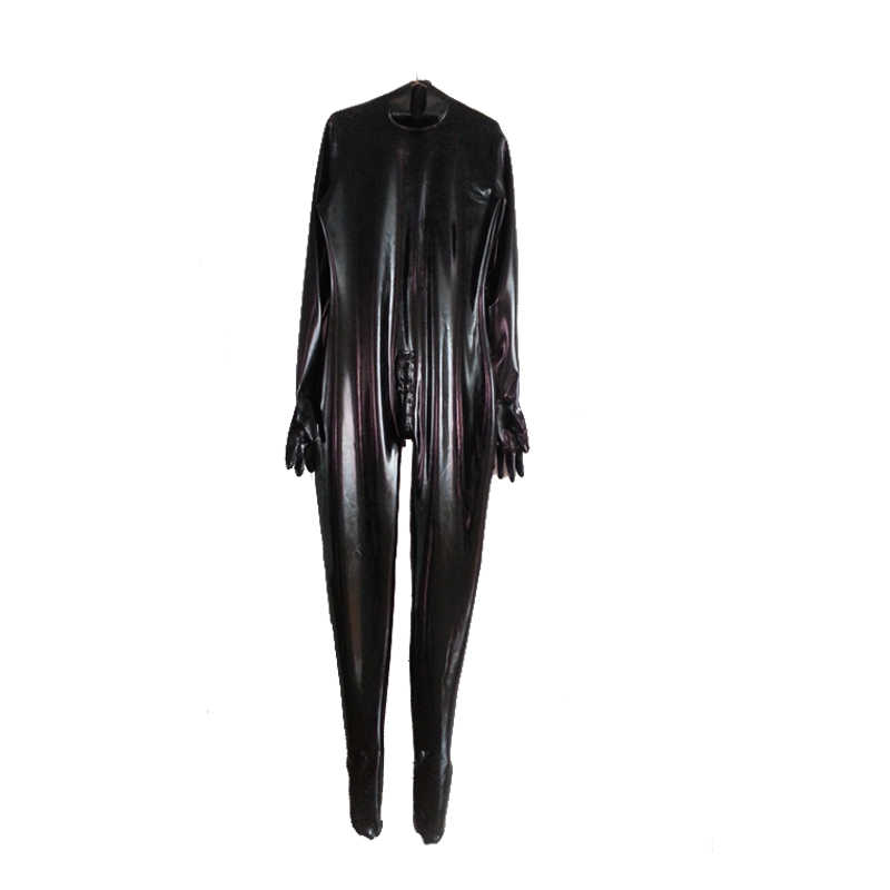 100% Latex Rubber Black Unisex Catsuit Bodysuit With Gloves Size XXS-XXL