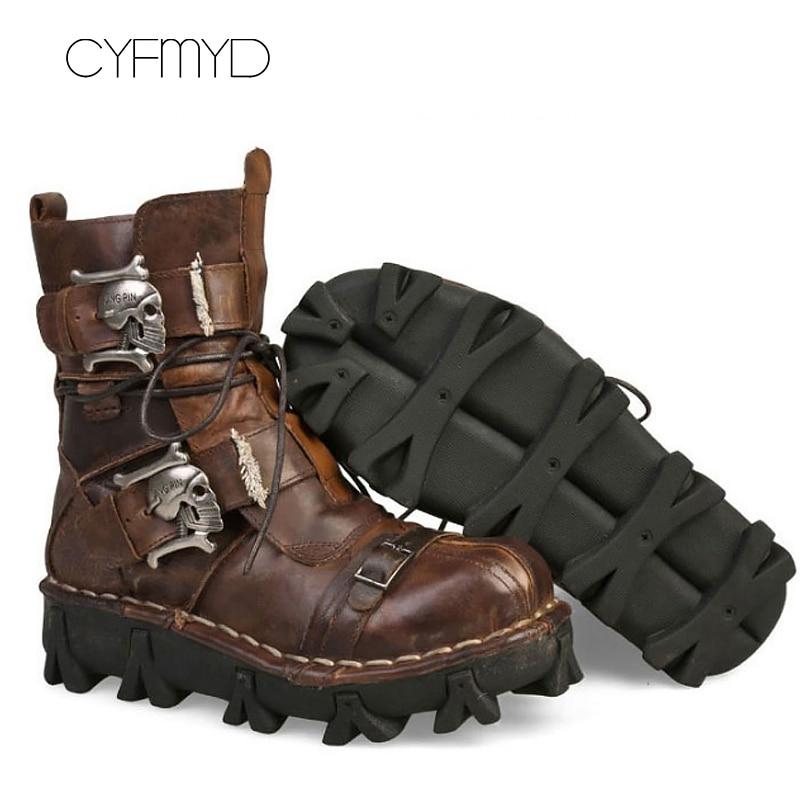 Military boots Plus size 11.5-16 Genuine leather Motorcycle boots Metal Desert Skull Punk Boots Combat Boots man zapatillas de moda 2019 hombre
