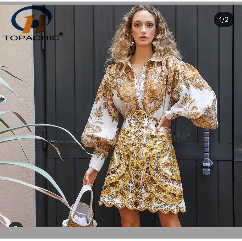 5 17 Spring Summer The high quality fashion female Stand collar Long sleeve Print Button High