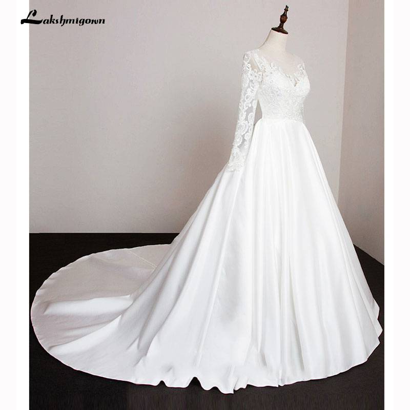 Long Sleeve Stain Wedding Dresses Bride A Line wedding gown Lace Vestido de Noiva Casamento