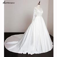 Long Sleeve Stain Wedding Dresses Bride A Line Wedding Gown Lace Vestido De Noiva Casamento
