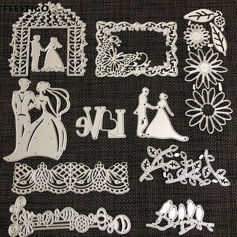 FEESTIGO Wedding Bride and Groom Die Cuts Scrapbooking Metal Bird Cutting Dies New 2018 Love Words Die Cuts For Card Making