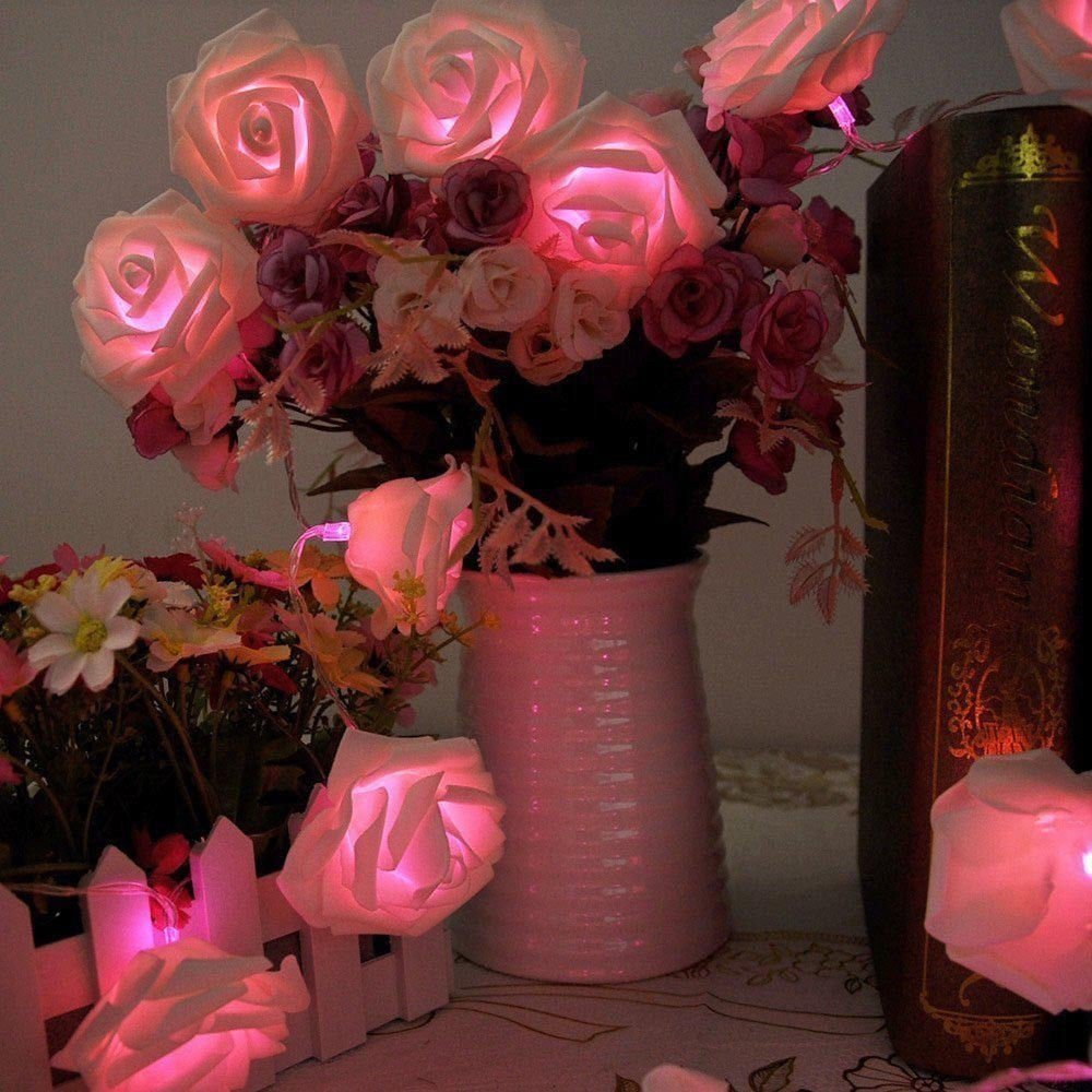 Wedding Decoration Marriage 20 Led Pink Rose Flower Fairy Light