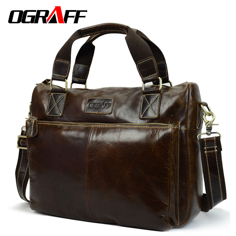OGRAFF Men Bag Messenger Crossbody Bags Business Totes Leather Handbag Laptop Bag Genuine Leather Shoulder Bags Men Briefcases ograff men shoulder bag men genuine leather handbag design briefcase crossbody messenger bags men leather laptop tote travel bag
